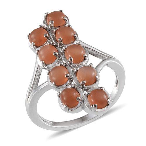 Mitiyagoda Peach Moonstone (Rnd) Ring in Platinum Overlay Sterling Silver 3.250 Ct.