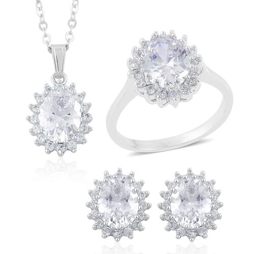AAA Simulated White Diamond Ring, Pendant With Chain (Size 22) and Stud Earrings (with Clasp) in Silver Tone
