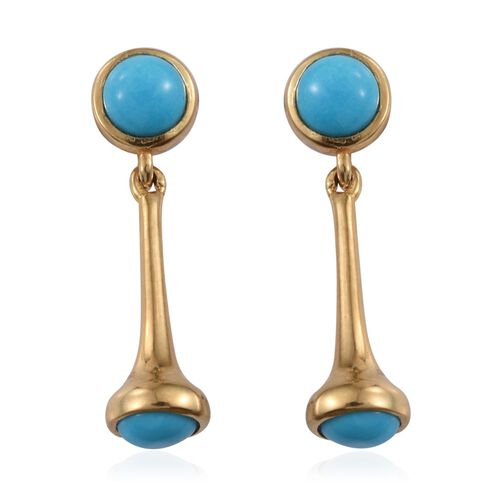 Arizona Sleeping Beauty Turquoise (Rnd) Earrings (with Push Back) in 14K Gold Overlay Sterling Silver 1.500 Ct.