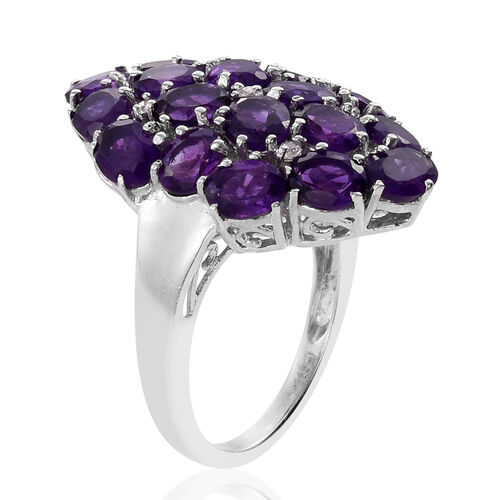 Amethyst (Ovl), Natural Cambodian Zircon Cluster Ring in Platinum Overlay Sterling Silver 6.500 Ct.
