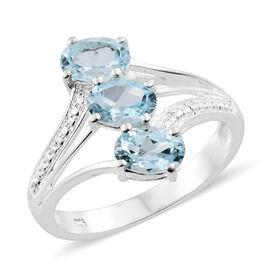 Sky Blue Topaz (Ovl) Trilogy Ring in Sterling Silver 2.750 Ct.