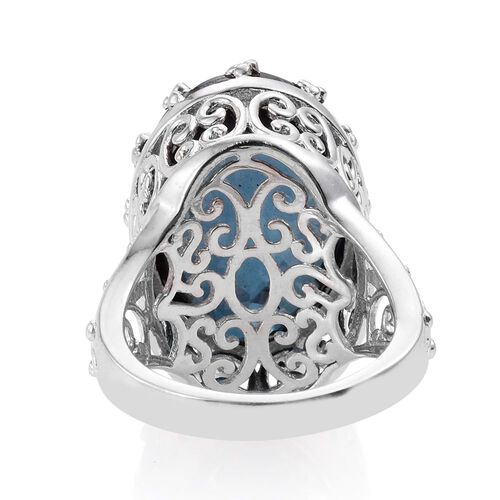 Checkerboard Cut Indicolite Quartz (Ovl) Ring in Platinum Overlay Sterling Silver 18.000 Ct.