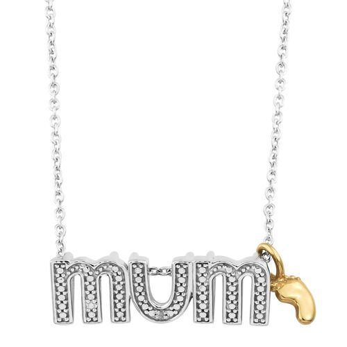 Diamond MUM Necklace in Platinum and Gold Plated Silver 18 Inch