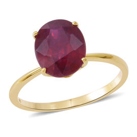 9K Yellow Gold AAA African Ruby (Ovl) Solitaire Ring 5.250 Ct.