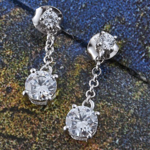 J Francis - Platinum Overlay Sterling Silver (Rnd) Earrings (with Push Back) Made with SWAROVSKI ZIRCONIA