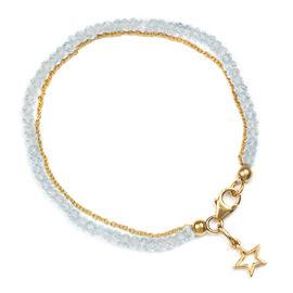 Sky Blue Topaz Dual Strand Gold Plated Friendship Bracelet with Star Charm