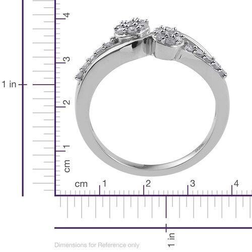 Diamond Twin Flower 0.33 Carat Promise Silver Ring in Platinum Overlay.