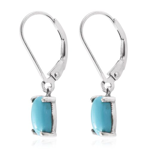Arizona Sleeping Beauty Turquoise (Cush) Lever Back Earrings in Platinum Overlay Sterling Silver 2.000 Ct.