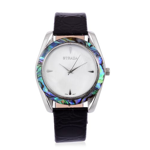 STRADA Japanese Movement MOP Dial with Abalone Shell Bezel Water Resistant Watch in Silver Tone with Stainless Steel Back and Black Colour Strap
