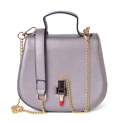 Silver Colour Lipstick Design Lock Crossbody Bag with Removable Chain Strap (Size 20X17X8.5 Cm)