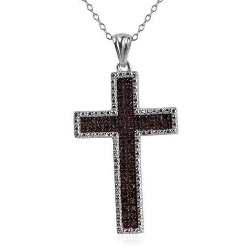 Red Diamond (Rnd) Cross Pendant with Chain in Rhodium Plated Sterling Silver 0.250 Ct.