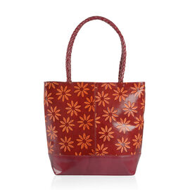 100% Genuine Leather Wine and Orange Colour Hand Painted Daisy Pattern RFID Shoulder Bag (Size 35X30X10 Cm)