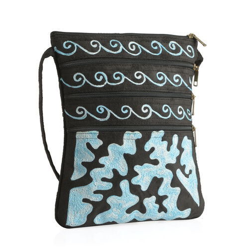 Suede Leather Look Blue Colour Hand Embroidered Sling Bag with External Zipper Pocket and Shoulder Strap (Size 26x22 Cm)