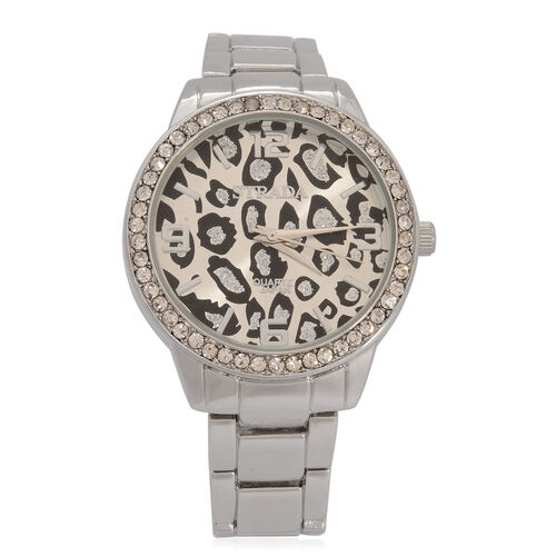 STRADA Japanese Movement Leopard Dial White Austrian Crystal Watch in Silver Tone Strap