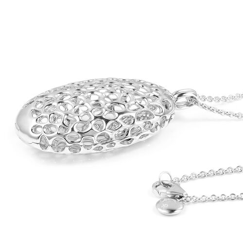 RACHEL GALLEY Rhodium Plated Sterling Silver Charmed Pebble Locket (Size 30), Silver wt 23.42 Gms.