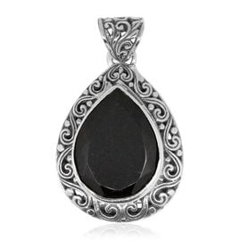 Royal Bali Collection Boi Ploi Black Spinel (Pear) Pendant in Sterling Silver 19.864 Ct. Silver wt 6.50 Gms.