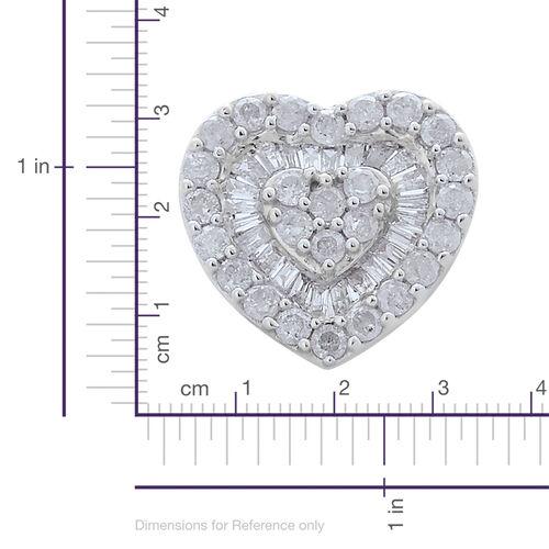 9K White Gold SGL Certified Diamond (Rnd) (I3/G-H) Heart Pendant 0.500 Ct.