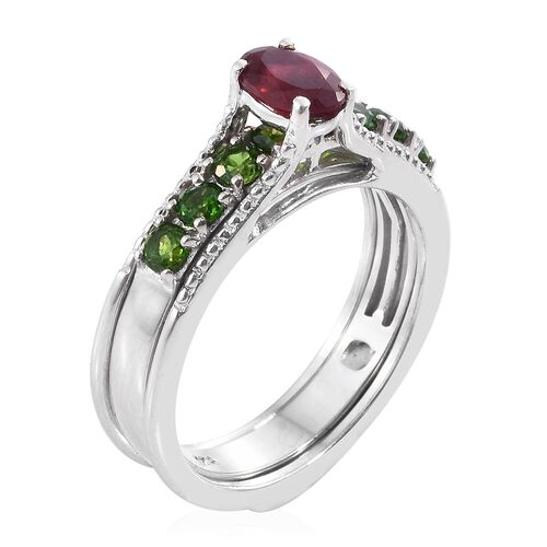 Limited Edition- Set of 3 African Ruby (Ovl 1.20 Ct), Tanzanite and Russian Diopside Interchangeable Stacker Ring in Platinum Overlay Sterling Silver 4.000 Ct. Silver Wt. 11.85 Grams