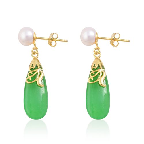 Green Jade and Fresh Water Pearl Drop Earrings (with Push Back) in Yellow Gold Overlay Sterling Silver 12.250 Ct.