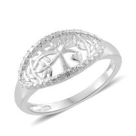 J Francis - Sterling Silver (Rnd) Tree of Life Ring Made with SWAROVSKI ZIRCONIA