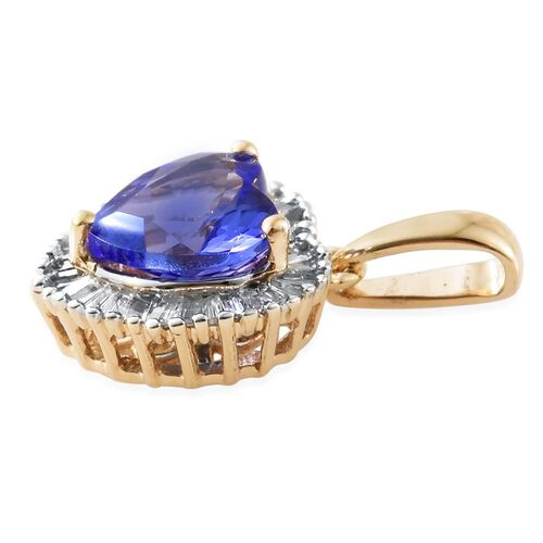 One Time Deal - Limited Edition - 9K Y Gold Tanzanite (Rare Hrt Cut 1.25 Ct), Diamond (I3 - G/H) Pendant 1.500 Ct.