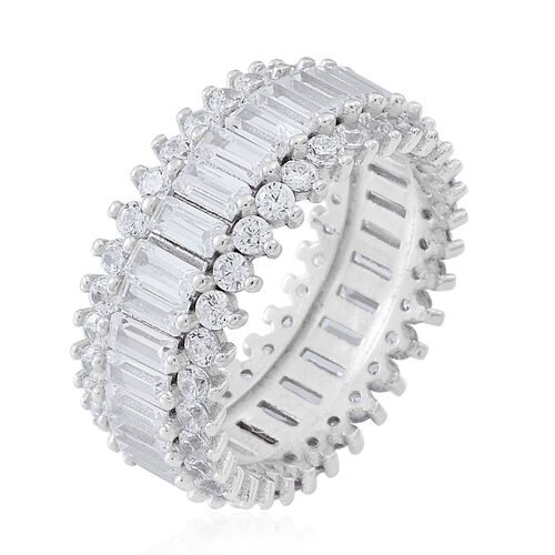 Signature Collection-ELANZA AAA Simulated White Diamond (Bgt) Ring in Rhodium Plated Sterling Silver