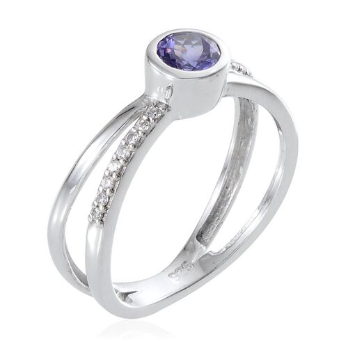 Tanzanite (Rnd 0.50 Ct), Simulated Diamond Ring in Platinum Overlay Sterling Silver 0.600 Ct.