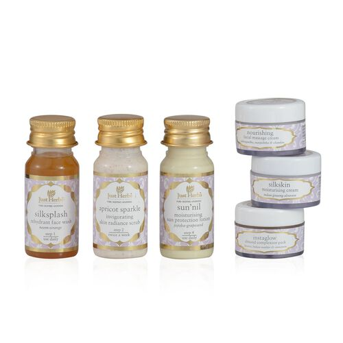 (Option 1) Just Herbs Apricot Sparkle( 35 ml), Silksplash (35 ml), Sun nil (35g), Facial Massage Cream (15ml), Instaglow (15ml) and Silkskin (15g)