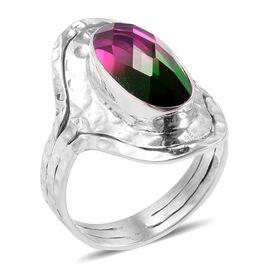 CHECKERBOARD CUT Royal Bali Collection Tourmaline Colour Quartz (Ovl) Ring in Sterling Silver 7.500 Ct.