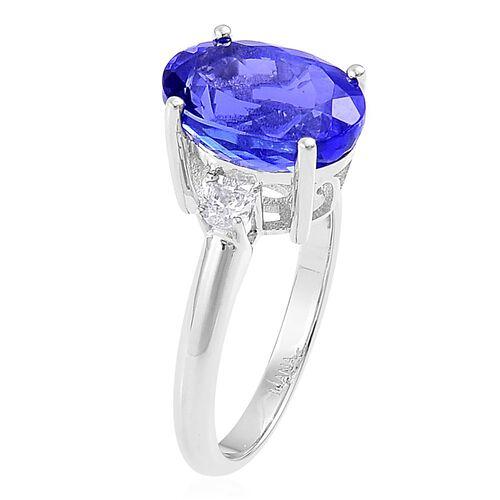 ILIANA 18K W Gold AAA Tanzanite (Ovl 5.75 Ct), Diamond (SI/G-H) Ring 6.000 Ct.