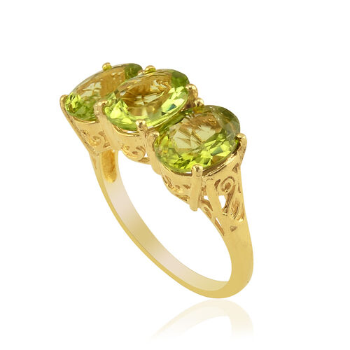 Hebei Peridot (Ovl) Trilogy Ring in 14K Gold Overlay Sterling Silver 5.000 Ct.