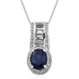 Rare Size Masoala Sapphire (Ovl 10x8mm), White Topaz Pendant With Chain in Platinum Overlay Sterling Silver
