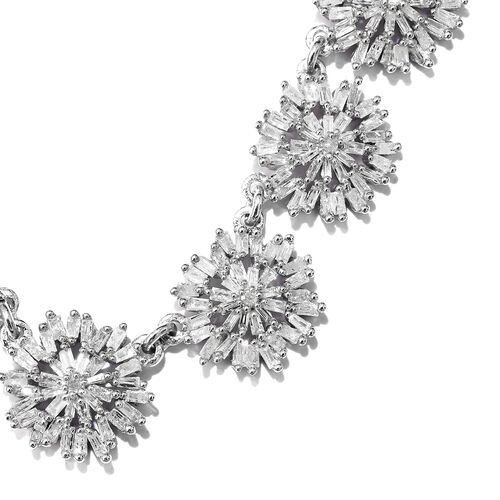 Designer Inspired - Firecracker Diamond (Rnd) Adjustable Necklace (Size 18) in Platinum Overlay Sterling Silver 2.000 Ct.