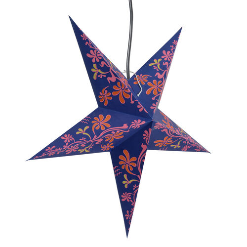 Home Decor - Floral Pattern Purple and Multi Colour Handmade Star with Electric Cable (Size 60 Cm)