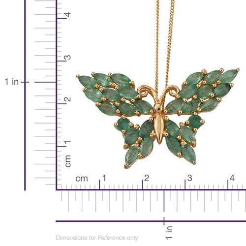 Kagem Zambian Emerald (Mrq) Butterfly Pendant With Chain in 14K Gold Overlay Sterling Silver 3.750 Ct.