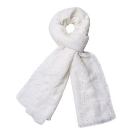 White Colour Scarf with Sequins (Size 200x70 Cm)