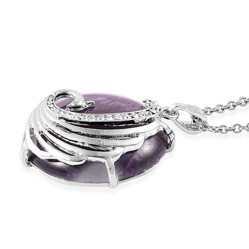 Amethyst, White Austrian Crystal Phoenix Pendant With Chain (Size 28) in Silver Tone
