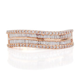 ILIANA 18K Rose Gold Natural Pink Diamond (Bgt) (SI/G-H) Half Eternity Ring 0.500 Ct. Number of Diamonds 134