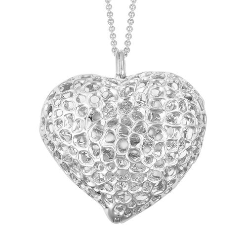 RACHEL GALLEY Rhodium Plated Sterling Silver Lattice Heart Necklace (Size 30), Silver wt. 32.62 Gms.