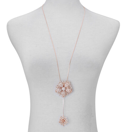 White Austrian Crystal Floral Pendant With Chain in Rose Gold Tone with Simulated Stone