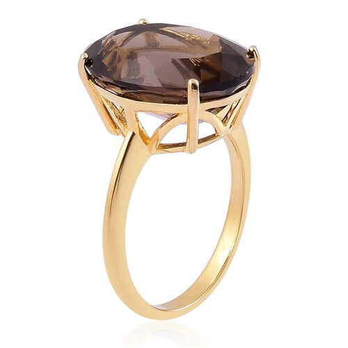 Brazilian Smoky Quartz (Ovl) Solitaire Ring in Yellow Gold Overlay Sterling Silver 8.500 Ct.