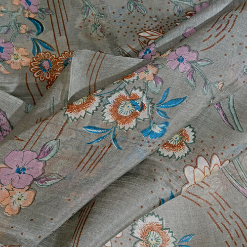 100% Mulberry Silk Grey, Chocolate and Multi Colour Flower and Birds Pattern Scarf (Size 180x100 Cm)