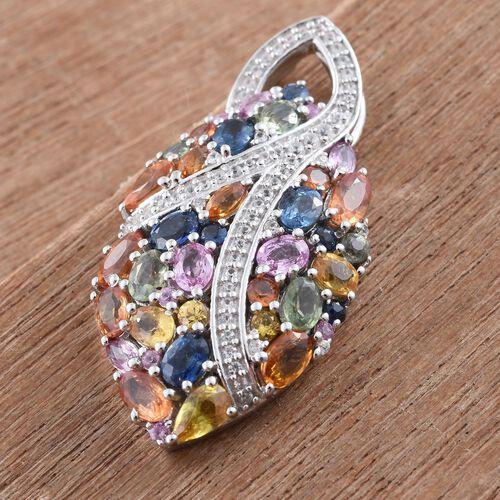 Orange Sapphire (Ovl), Yellow Sapphire, Green Sapphire, Kanchanaburi Blue Sapphire, Pink Sapphire and Multi Gem Stone Pendant in Platinum Overlay Sterling Silver 6.020 Ct.