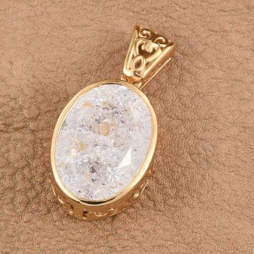 Diamond Crackled Quartz (Ovl) Pendant in 14K Gold Overlay Sterling Silver 13.000 Ct.