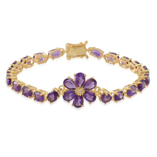 Natural Uruguay Amethyst (Ovl), Natural White Cambodian Zircon Floral Bracelet (Size 7) in 14K Gold Overlay Sterling Silver 12.500 Ct. Silver wt 5.30 Gms.