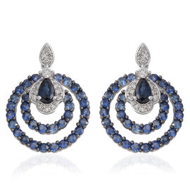14K White Gold AAA Madagascar Blue Sapphire (Pear and Rnd), Diamond (G-H/I1-I2) Earrings (with Push Back) 2.160 Ct.