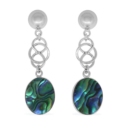 Royal Bali Collection Abalone Shell (Ovl) Earrings (with Push Back) in Sterling Silver 12.000 Ct.