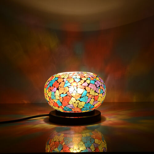 New Arrival - Handcrafted Multi Colour Mosaic Electric Lamp with NATURAL HIMALAYAN ROCK SALT