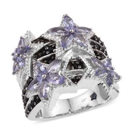 GP Tanzanite (Mrq), Boi Ploi Black Spinel and Kanchanaburi Blue Sapphire Ring in Platinum Overlay Sterling Silver 2.750 Ct.