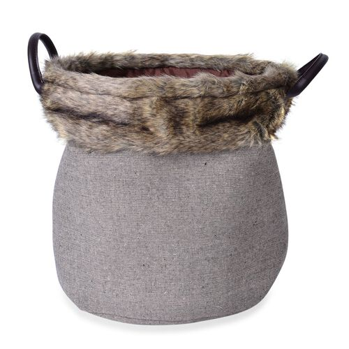 Set of 2 - 70% Cotton Dark Grey Colour Multi Purpose Faux Fur Basket with Faux Leather Handles (Size Small 30X30 Cm and Large 35X35 Cm)